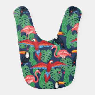 Tropical Birds In Bright Colors Baby Bibs
