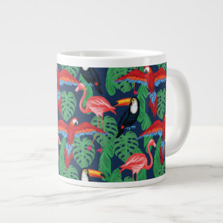 Tropical Birds In Bright Colors Large Coffee Mug