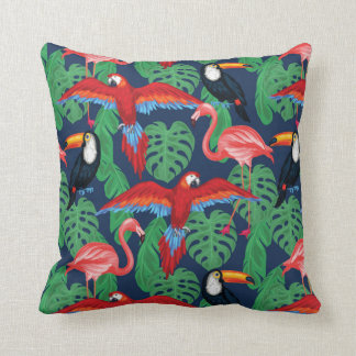 Tropical Birds In Bright Colors Throw Pillow