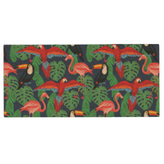 Tropical Birds In Bright Colors Wood USB 2.0 Flash Drive