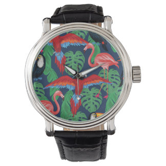 Tropical Birds In Bright Colors Wrist Watch