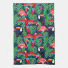 Tropical Birds In Bright Colours Kitchen Towel