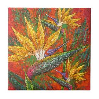 Tropical Birds Of Paradise Flowers Painting Art Tile