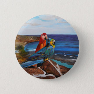 Tropical Birds Overlooking the Bay 2 Inch Round Button