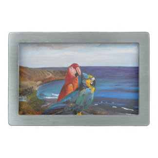 Tropical Birds Overlooking the Bay Belt Buckle