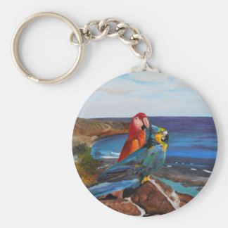 Tropical Birds Overlooking the Bay Keychain