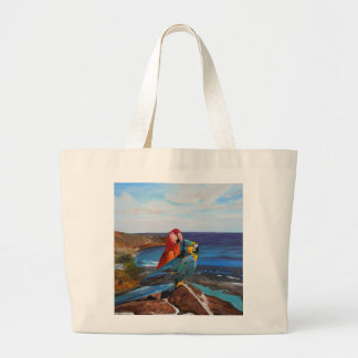 Tropical Birds Overlooking the Bay Large Tote Bag