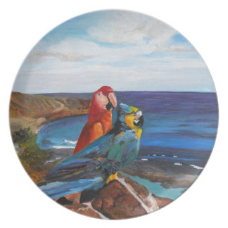Tropical Birds Overlooking the Bay Plate