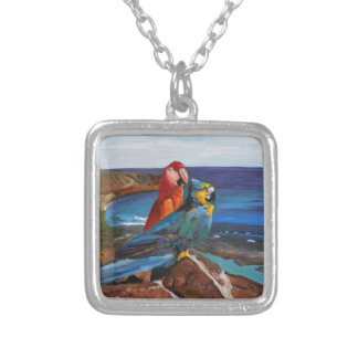 Tropical Birds Overlooking the Bay Silver Plated Necklace