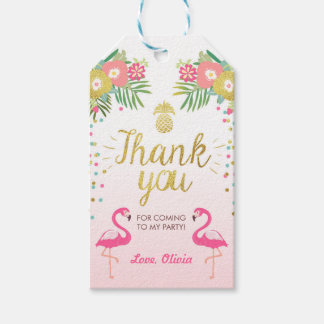 Tropical Birthday thank you tags Flamingo Luau Pack Of Gift Tags