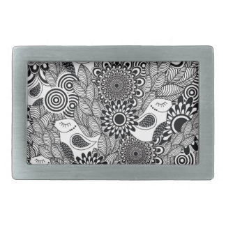 tropical black and white birds belt buckle