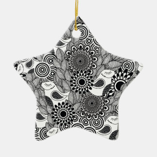 tropical black and white birds ceramic ornament