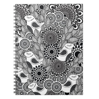 tropical black and white birds spiral notebook