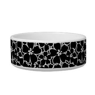 Tropical black and white hibiscus cat water bowl