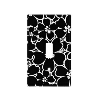 Tropical black and white hibiscus light switch cover