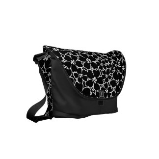 Tropical black and white hibiscus messenger bag