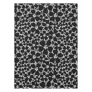 Tropical black and white hibiscus tablecloth