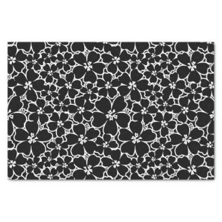 Tropical black and white hibiscus tissue paper