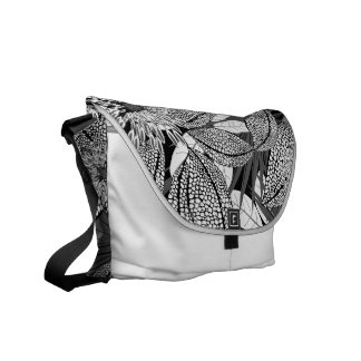 Tropical black and white spotted flowers messenger bags