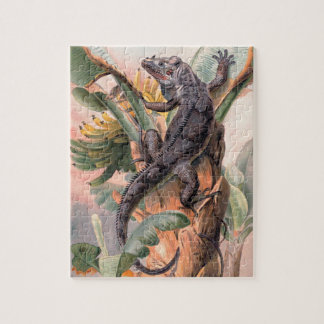 Tropical Black Iguana, Vintage Wild Reptile Animal Jigsaw Puzzle