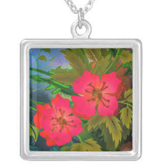 Tropical Blossoms Silver Plated Necklace
