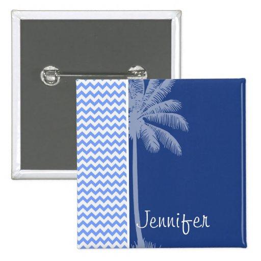 Tropical Blue Chevron Pinback Buttons