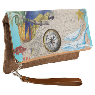 Tropical Blue Collage Clutch