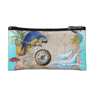 Tropical Blue Collage Cosmetic Bag