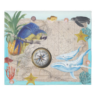 Tropical Blue Collage Duvet Cover