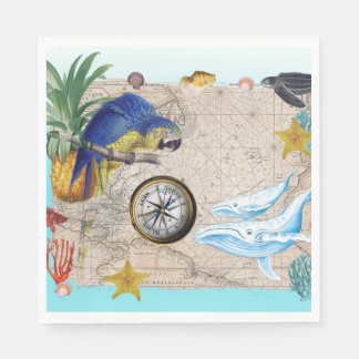 Tropical Blue Collage Napkin