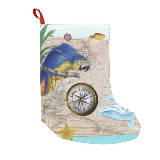 Tropical Blue Collage Small Christmas Stocking
