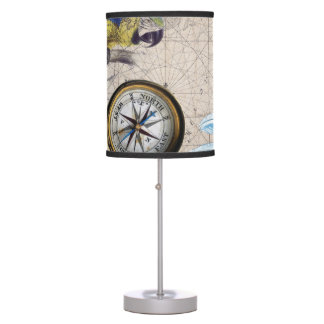 Tropical Blue Collage Table Lamp