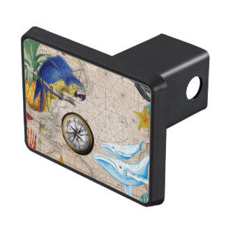 Tropical Blue Collage Trailer Hitch Cover