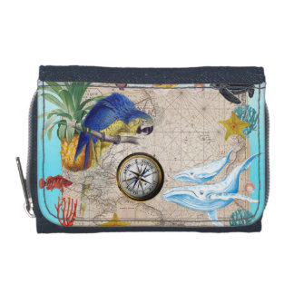 Tropical Blue Collage Wallet