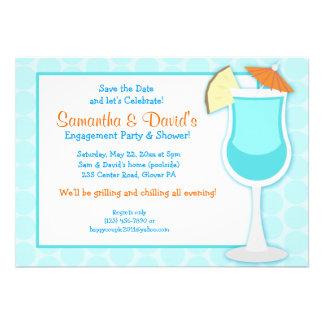 Tropical Blue Drink 5x7 Bridal Shower Invite