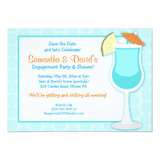Tropical Blue Drink 5x7 Bridal Shower Invite