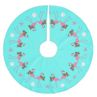 Tropical Blue Flamingo Christmas Border Brushed Polyester Tree Skirt