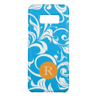 Tropical Blue Floral Wallpaper Swirl Monogram Case-Mate Samsung Galaxy S8 Case