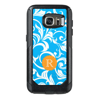 Tropical Blue Floral Wallpaper Swirl Monogram OtterBox Samsung Galaxy S7 Case