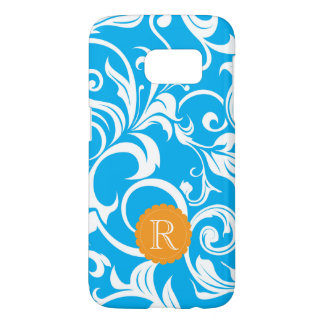 Tropical Blue Floral Wallpaper Swirl Monogram Samsung Galaxy S7 Case