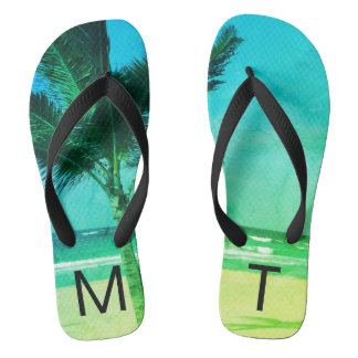 Tropical Blue/Green Beach & Palm Tree Initial Flip Flops