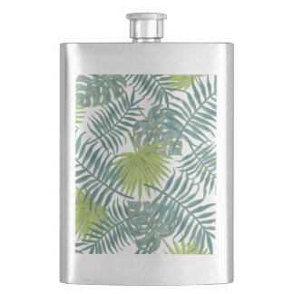 Tropical Blue Green Palm Drawing Graphic Flasks