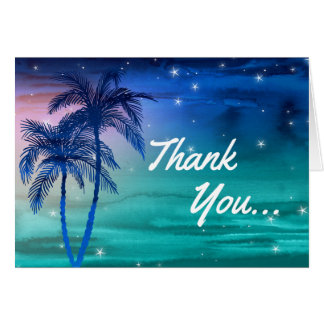 Tropical Blue Green Palm Tree Thank You Cards