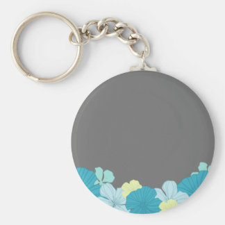 Tropical Blue Hawaiian Lei on Charcoal Basic Round Button Keychain
