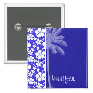 Tropical Blue Hibiscus Palm Button