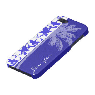 Tropical Blue Hibiscus Palm Cases For iPhone 5
