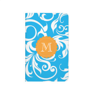 Tropical Blue Orange Floral Swirl Monogram Journal