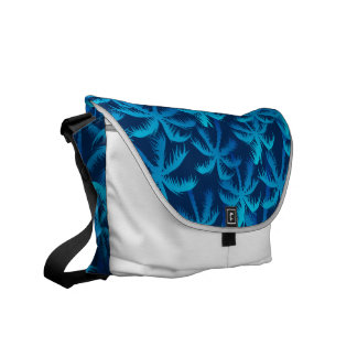 Tropical blue palm forest courier bag