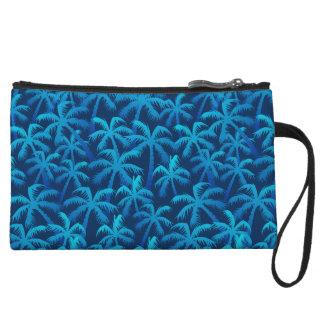 Tropical blue palm forest wristlet purses