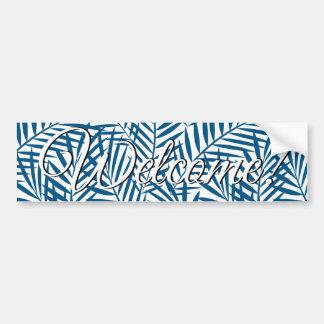 Tropical blue palm leaf bumper sticker